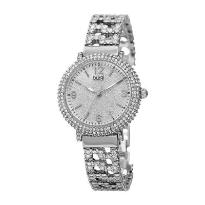 Burgi  Womens Crystal-Accent Silver-Tone Bracelet Watch