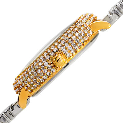 Burgi Womens Crystal-Accent Two-Tone Bracelet Watch