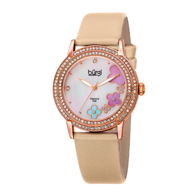 Burgi Womens Flower Dial Pink Leather Strap Watch