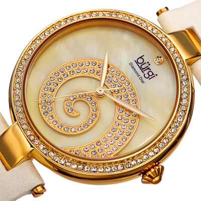 Burgi Womens Crystal Swirl White Leather Strap Watch