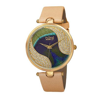 Burgi Womens Multicolor Crystal-Dial Watch