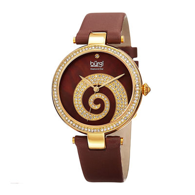Burgi Womens Crystal Swirl Brown Leather Strap Watch