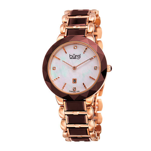 Burgi Womens Rose-Tone Stainless Steel Watch