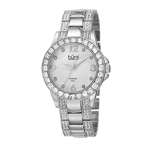 Burgi Womens Diamond- and Crystal-Accent Silver-Tone Watch