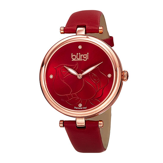 bürgi Womens Etched Rose Dial Red Leather Watch