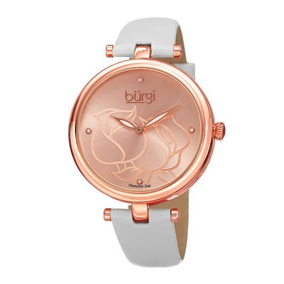 bürgi Womens Diamond-Accent Etched Rose Dial Watch