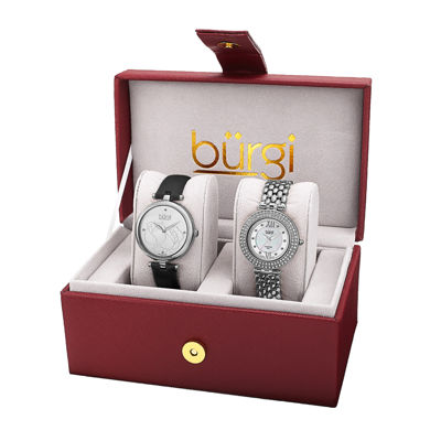 Burgi Womens 2-pc. Silver-Tone and Black Leather Watch Set