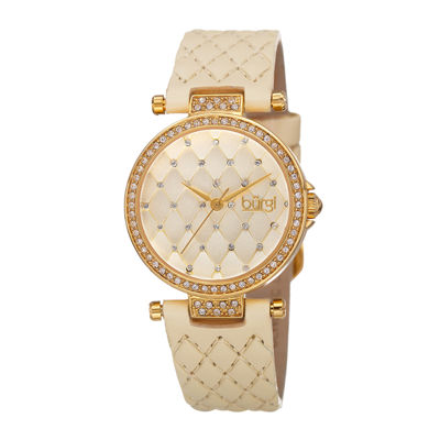Burgi Womens Crystal Gold-Tone and White Strap Watch