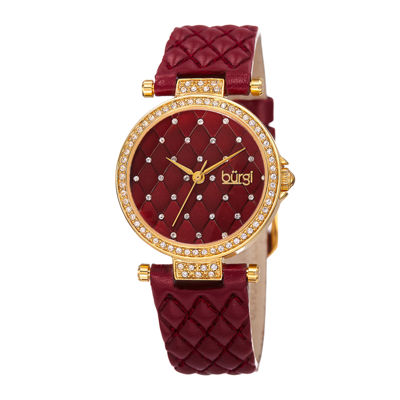 Burgi Womens Crystal Gold-Tone and Red Strap Watch