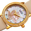 Burgi Womens Flower Dial Tan Leather Strap Watch