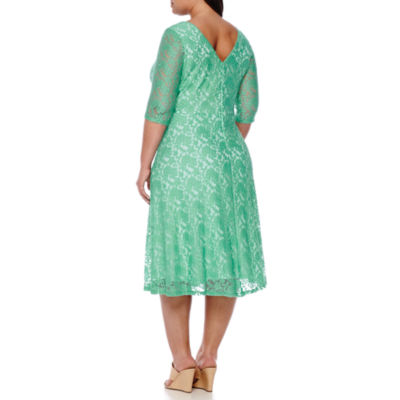 Signature by Sangria 3/4 Sleeve Lace Fit & Flare Dress-Plus