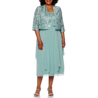 3/4 Sleeve Jacket Dress R & M Richards