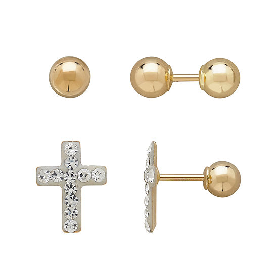 Infinite Gold Kids 14k Yellow Gold Crystal Accent Cross And Ball Stud 2 Pr Earring Set