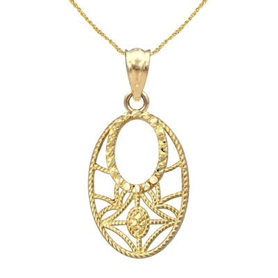 10K Yellow Gold Open-Cut Oval Pendant Necklace