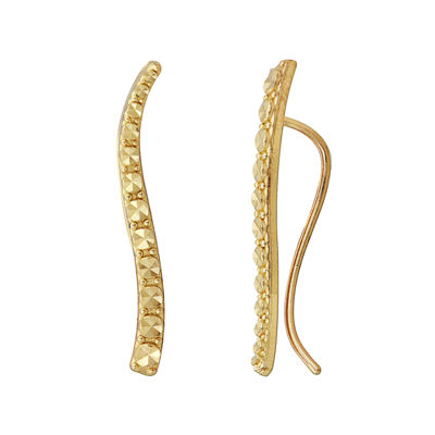 14K Yellow Gold Diamond-Cut Climber Earrings