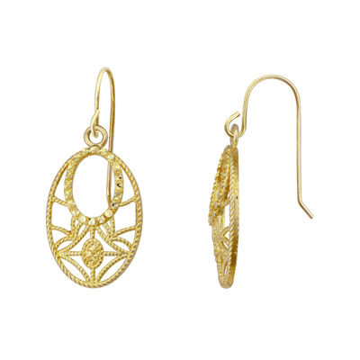10K Yellow Gold Oval Dangle Drop Earrings