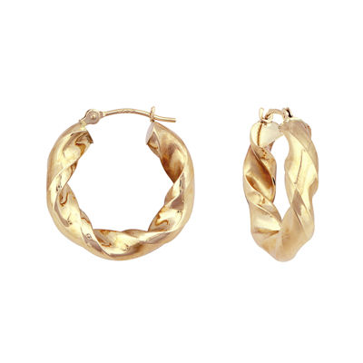 14K Yellow Gold Twist Rope Hoop Earrings
