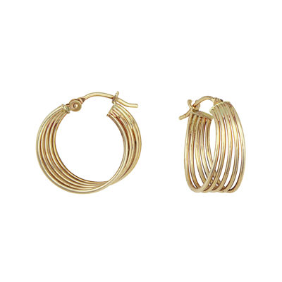 14K Yellow Gold Multi-Row Hoop Earrings