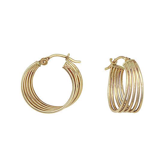 14K Yellow Gold Multi-Row Hoop Earrings