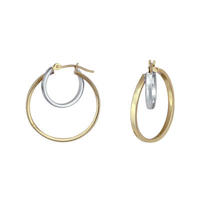 14K Gold Two-Tone Nested Hoop Earrings