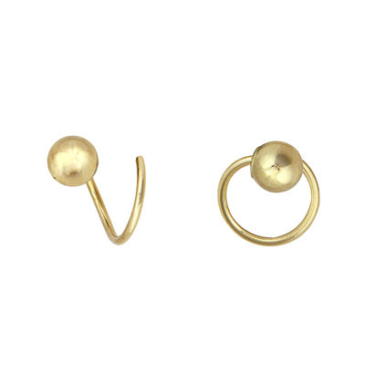 14K Yellow Gold Twirl Corkscrew Earrings