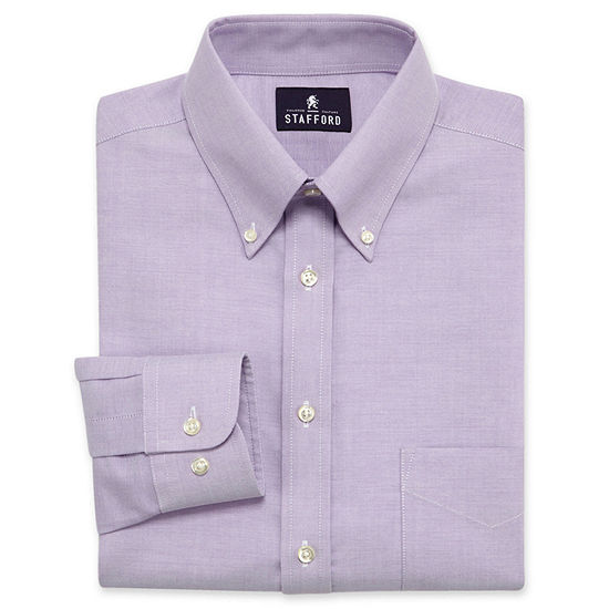 Stafford Travel Wrinkle-Free Oxford Mens Button Down Collar Long Sleeve Wrinkle Free Dress Shirt
