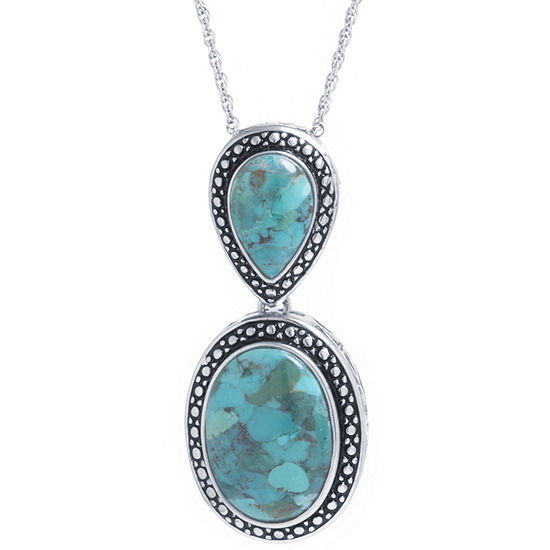 Womens Enhanced Blue Turquoise Sterling Silver Oval Pendant Necklace