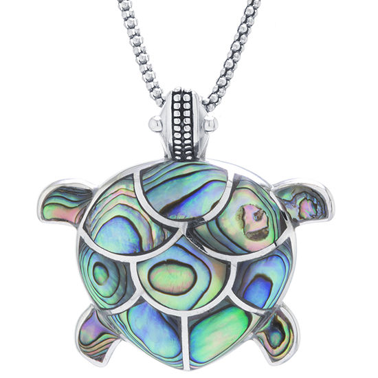 Turtle Womens Genuine Abalone Sterling Silver Pendant Necklace
