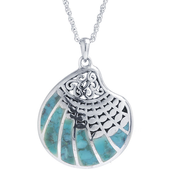 Shell Womens Enhanced Blue Turquoise Sterling Silver Pendant Necklace