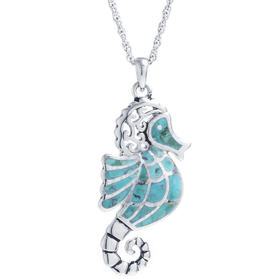 Seahorse Womens Enhanced Blue Turquoise Sterling Silver Pendant Necklace