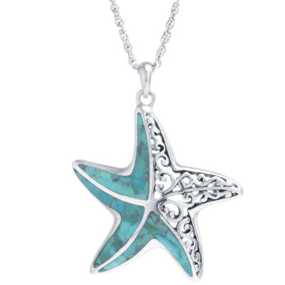 Womens Enhanced Blue Turquoise Star Pendant Necklace