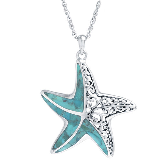 Starfish Womens Enhanced Blue Turquoise Sterling Silver Star Pendant Necklace