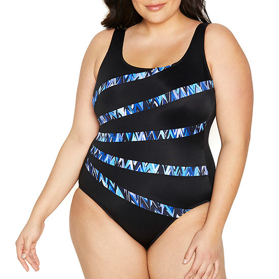 St. John's Bay Waves One Piece Swimsuit Plus