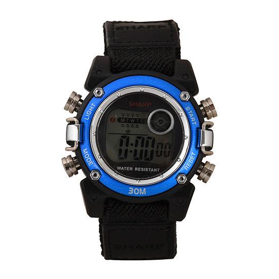 Sharp Unisex Adult Automatic Digital Black Strap Watch-Shr3002jc