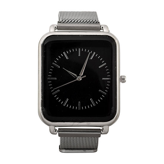 Geneva Mens Silver Tone Strap Watch-Mac8038jc