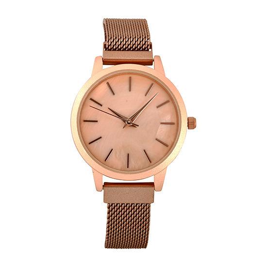 Geneva Womens Rose Goldtone Strap Watch-Wac8700jc
