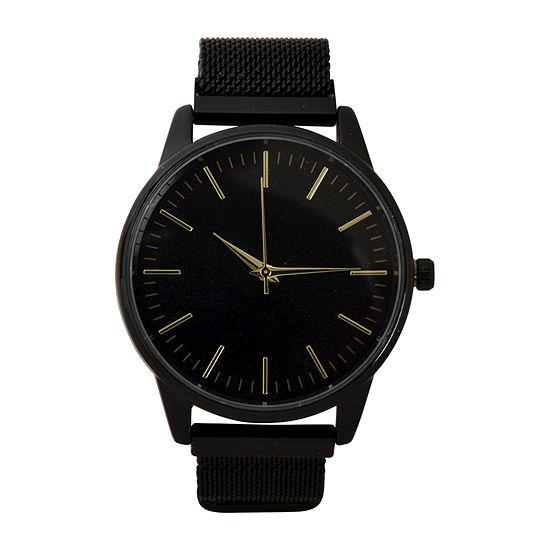Geneva Mens Black Strap Watch-Mac8037jc