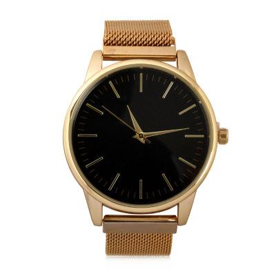 Geneva Mens Gold Tone Strap Watch-Mac8039jc
