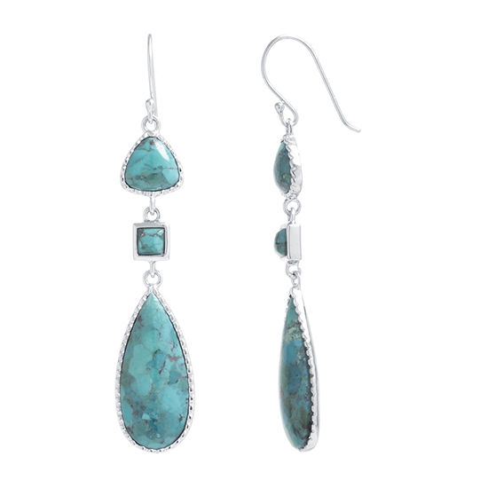 Enhanced Blue Turquoise Sterling Silver Drop Earrings