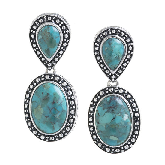 Enhanced Blue Turquoise Sterling Silver Oval Drop Earrings