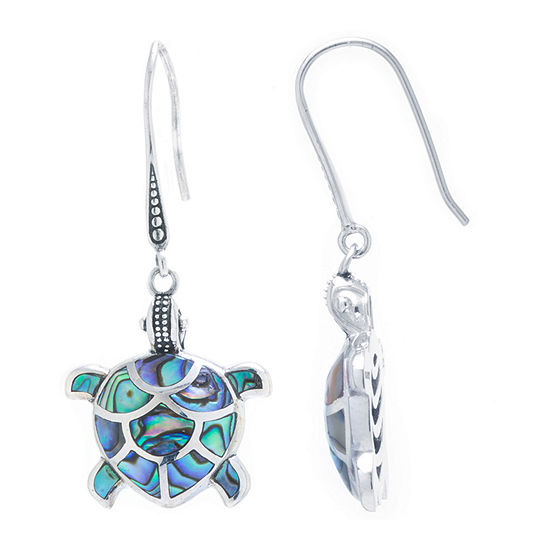 Turtle Genuine Multi Color Abalone Sterling Silver Drop Earrings