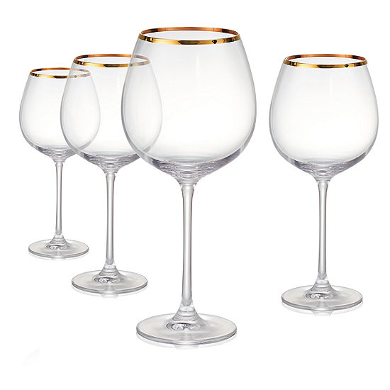 Artland Gold Band Burgundy 4-pc. Wine Glass