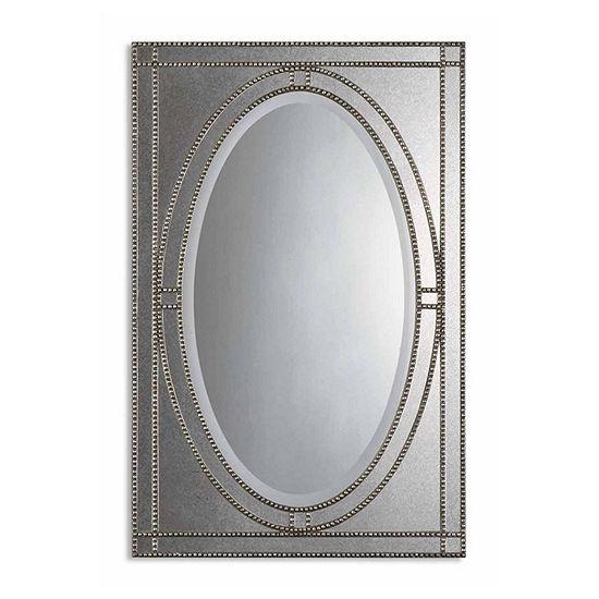 Earnestine Champagne Beaded Silver Mirror