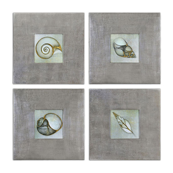 Set Of 4 Neptunes Garden Framed Wall Art