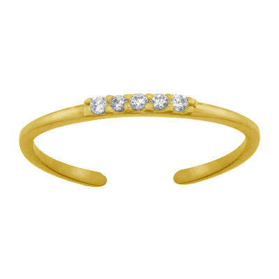 Itsy Bitsy Gold Flash With 5 Clear Cz Bar Cubic Zirconia Gold Over Silver Toe Ring