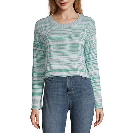 Arizona-Juniors Womens Round Neck Long Sleeve Striped Pullover Sweater