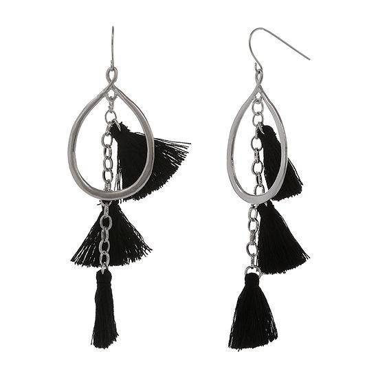 Mixit Black Fringe Drop Earrings