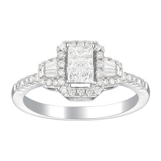 Womens 5/8 CT. T.W. Genuine White Diamond 10K White Gold Cocktail Ring