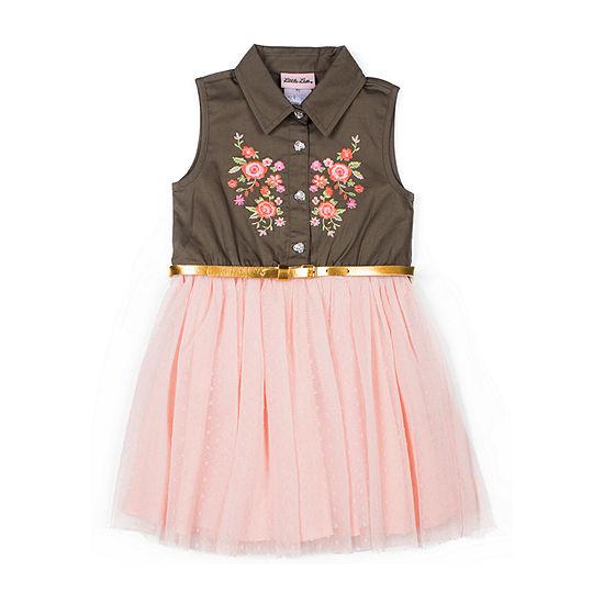 Little Lass - Toddler Girls Sleeveless Floral A-Line Dress