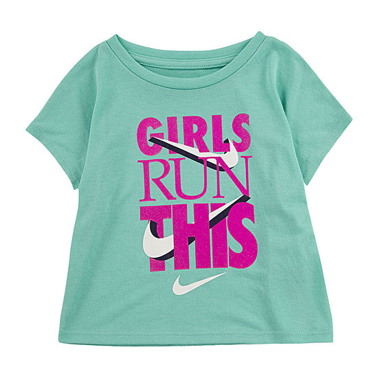 Nike Little Girls Round Neck Short Sleeve Graphic T-Shirt